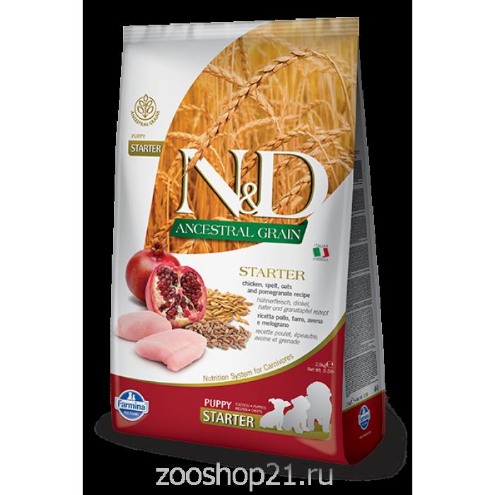 Корм Farmina N&D (Low Grain) Chicken & Pomegranate Puppy Starter для щенков с момента отъема от матери с низким содержанием зерна, курица с гранатом, 800 г